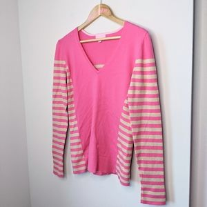 Lilly Pulitzer Adelaide striped pink sweater large